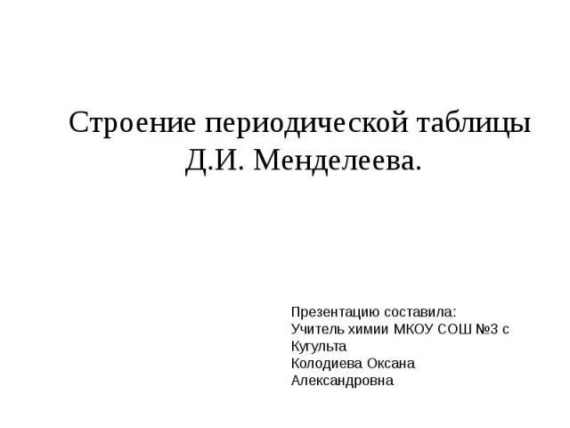 Строение периодической таблицы Д.И. Менделеева Презентацию составила:Учитель химии МКОУ СОШ №3 с КугультаКолодиева Оксана Александровна