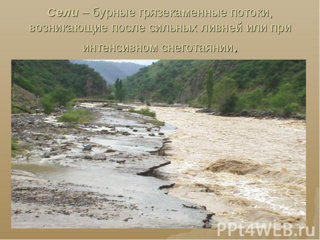 Сели – бурные грязекаменные потоки, возникающие после сильных ливней или при интенсивном снеготаянии.