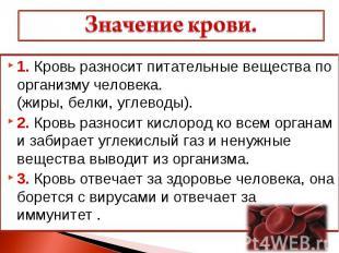 Значение крови. 1. Кровь разносит питательные вещества по организму человека. (ж