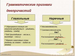 Грамматические признакидеепричастий Глагольные Образуются только от глаголов (ул