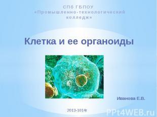 Клетка и ее органоиды СПб ГБПОУ «Промышленно-технологический колледж»