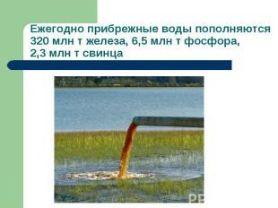 Ежегодно прибрежные воды пополняются 320 млн т железа, 6,5 млн т фосфора, 2,3 мл
