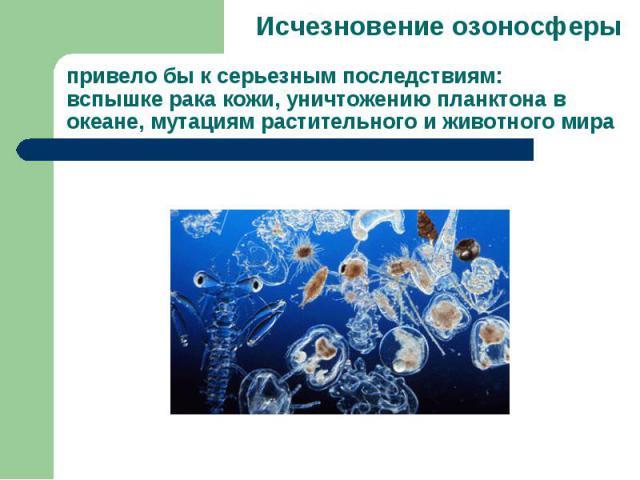Исчезновение озоносферы привело бы к серьезным последствиям: вспышке рака кожи, уничтожению планктона в океане, мутациям растительного и животного мира