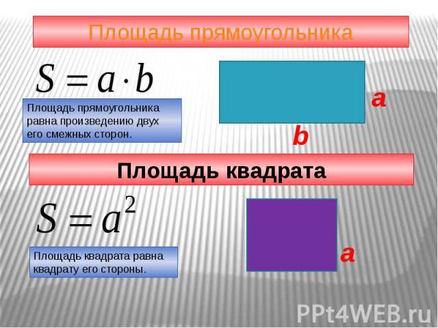 Площадь прямоугольника Площадь прямоугольникаравна произведению двухего смежных сторон. Площадь квадрата Площадь квадрата равна квадрату его стороны.