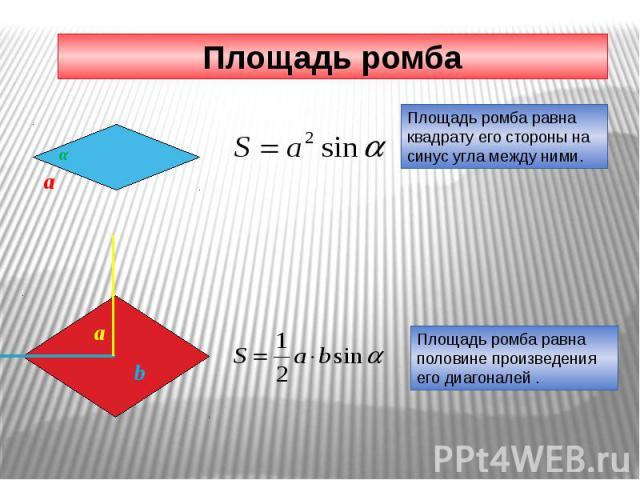 Площадь ромба Площадь ромба равна квадрату его стороны на синус угла между ними. Площадь ромба равна половине произведения его диагоналей .