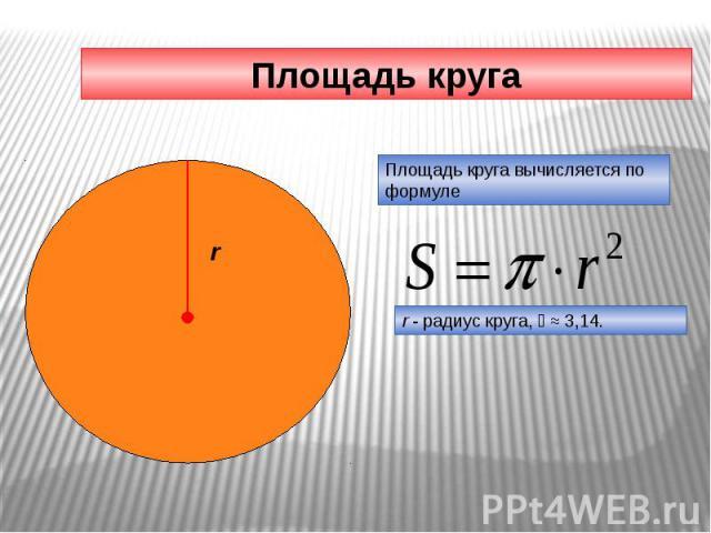 Площадь круга Площадь круга вычисляется по формуле r - радиус круга, ≈ 3,14.