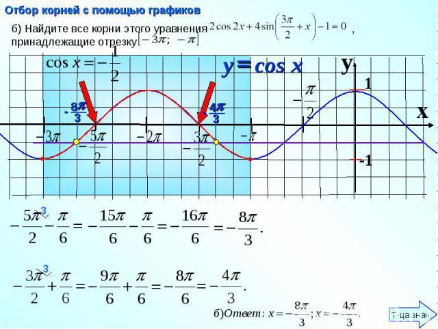 Отбор корней с помощью графиков б) Найдите все корни этого уравнения , принадлежащие отрезку