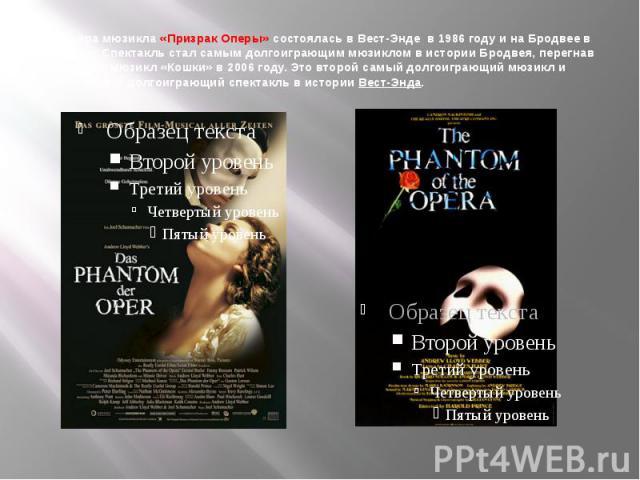 Премьера мюзикла «Призрак Оперы» состоялась вВест-Энде в 1986 году и наБродвее в 1988 году. Спектакль стал самым долгоиграющим мюзиклом в истории Бродвея, перегнав по показам мюзикл «Кошки» в 2006 году. Это второй самый долгоиграющий мюзикл и тре…