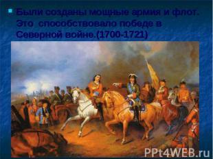 Были созданы мощные армия и флот. Это способствовало победе в Северной войне.(17