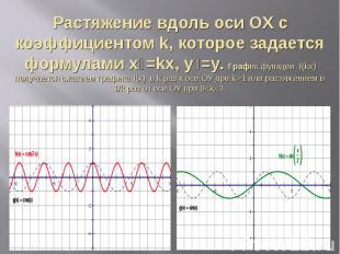 Растяжение вдоль оси ОX с коэффициентом k, которое задается формулами х₁=kх, у₁=