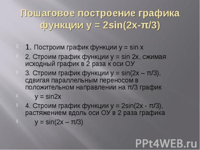 Пошаговое построение графика функции у = 2sin(2x-π/3) 1. Построим график функции у = sin x2. Строим график функции y = sin 2x, сжимая исходный график в 2 раза к оси ОУ3. Строим график функции у = sin(2x – π/3), сдвигая параллельным переносом в полож…