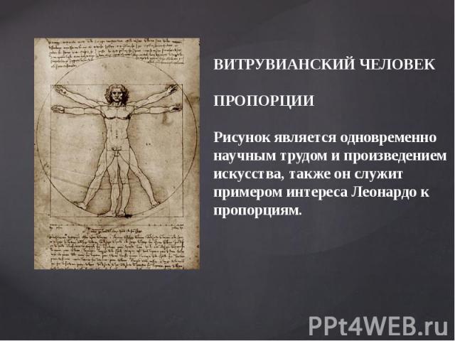 ВИТРУВИАНСКИЙ ЧЕЛОВЕКПРОПОРЦИИРисунок является одновременно научным трудом и произведениемискусства, также он служит примером интереса Леонардо кпропорциям.