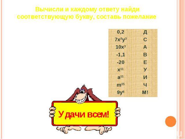 Вычисли и каждому ответу найди соответствующую букву, составь пожелание X5(x2)30,4∙0,52x∙5x2(m2m3)3(a3)2a51,5-2,62x2y3+5x2y3-15,8-4,29yy2y3