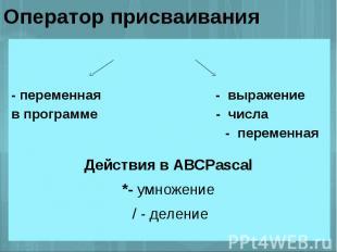 Оператор присваивания - переменная - выражениев программе - числа - переменная Д