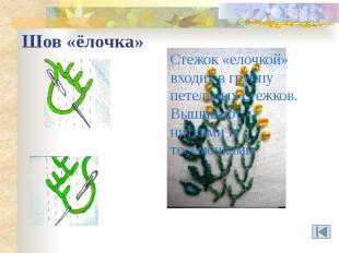 Шов «ёлочка» Стежок «елочкой» входит в группу петельных стежков.Вышивают нитками