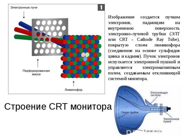Изображение создается пучком электронов, падающим на внутреннюю поверхность электронно-лучевой трубки (ЭЛТ или CRT - Cathode Ray Tube), покрытую слоем люминофора (соединение на основе сульфидов цинка и кадмия). Пучок электронов испускается электронн…