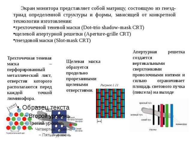 Экран монитора представляет собой матрицу, состоящую из гнезд-триад определенной структуры и формы, зависящей от конкретной технологии изготовления: трехточечной теневой маски (Dot-trio shadow-mask CRT)щелевой апертурной решетки (Aperture-grille CRT…