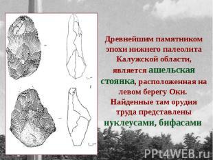 Древнейшим памятником эпохи нижнего палеолита Калужской области, является ашельс