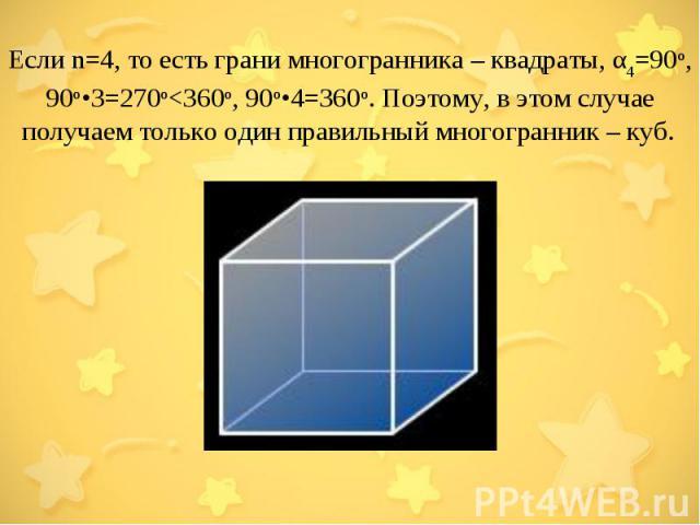 Если n=4, то есть грани многогранника – квадраты, α4=90о, 90о•3=270о