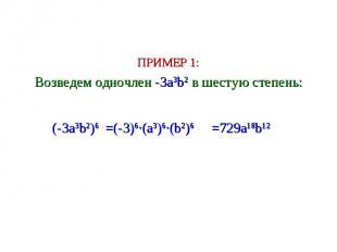ПРИМЕР 1: Возведем одночлен -3a3b2 в шестую степень: =(-3)6∙(a3)6∙(b2)6 (-3a3b2)