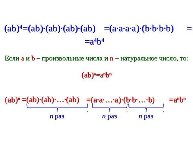 =(ab)∙(ab)∙(ab)∙(ab) =(a∙a∙a∙a)∙(b∙b∙b∙b) Если a и b – произвольные числа и n – натуральное число, то:(ab)n=anbn =(ab)∙(ab)∙…∙(ab) =(a∙a∙…∙a)∙(b∙b∙…∙b)