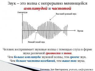 Звук – это волна с непрерывно меняющейся амплитудой и частотой Человек восприним