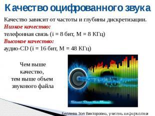 Качество оцифрованного звука Качество зависит от частоты и глубины дискретизации