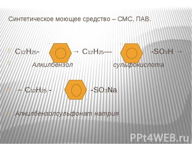 Синтетическое моющее средство – СМС, ПАВ. С12Н25- → С12Н25— -SO3H → Алкилбензол сульфокислота→ C12H25 - -SO3NaАлкилбензолсульфонат натрия