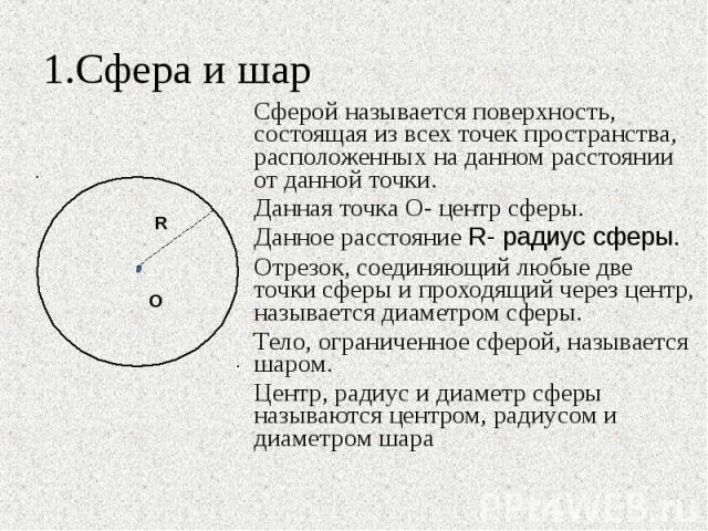1.Сфера и шар Сферой называется поверхность, состоящая из всех точек пространства, расположенных на данном расстоянии от данной точки.Данная точка О- центр сферы.Данное расстояние R- радиус сферы.Отрезок, соединяющий любые две точки сферы и проходящ…