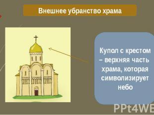 Внешнее убранство храма Купол с крестом – верхняя часть храма, которая символизи