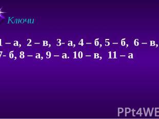 Ключи 1 – а, 2 – в, 3- а, 4 – б, 5 – б, 6 – в, 7- б, 8 – а, 9 – а. 10 – в, 11 –