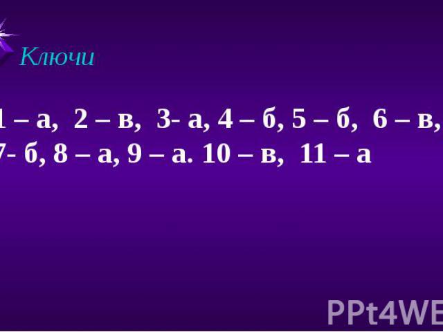 Ключи 1 – а, 2 – в, 3- а, 4 – б, 5 – б, 6 – в, 7- б, 8 – а, 9 – а. 10 – в, 11 – а