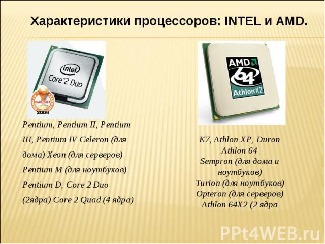 Характеристики процессоров: INTEL и AMD. Pentium, Pentium II, Pentium III, Pentium IV Celeron (для дома) Xeon (для серверов) Pentium M (для ноутбуков) Pentium D, Core 2 Duo (2ядра) Core 2 Quad (4 ядра) K7, Athlon XP, DuronAthlon 64Sempron (для дома …