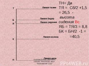 ТН= ДиТЯ = Сб/2 +1,5 = 26,5 - высота сидения ВсЯБ = ТЯ/3 = 8,8БК = БН/2 -1 = =40
