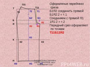 Оформление переднего срезаБ1Я2 соединить прямойБ1Я2:2 = т.1Соединяем с прямой Я1