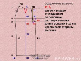 Оформление вытачкиот Т2 влево и вправооткладываем по половине раствора вытачкиДл