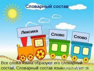 Словарный состав Все слова языка образуют его словарный состав. Словарный состав