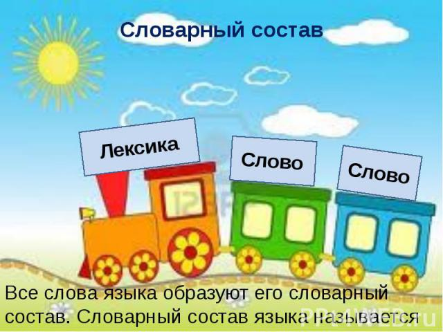 Словарный состав Все слова языка образуют его словарный состав. Словарный состав языка называется лексикой.