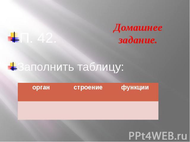 П. 42.Заполнить таблицу: Домашнее задание.