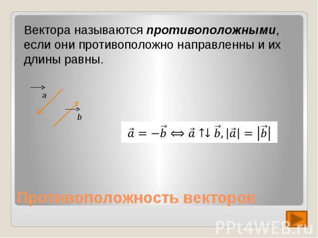 Вектора называются противоположными, если они противоположно направленны и их длины равны.
