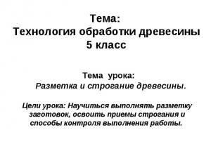 Тема: Технология обработки древесины5 класс Тема урока: Разметка и строгание дре