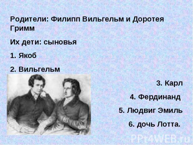 Родители: Филипп Вильгельм и Доротея ГриммИх дети: сыновья 1. Якоб2. Вильгельм3. Карл4. Фердинанд 5. Людвиг Эмиль6. дочь Лотта.