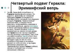 Четвертый подвиг Геракла: Эриманфский вепрь Затем Эврисфей потребовал от Геракла