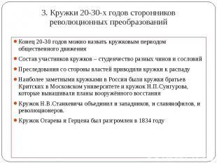3. Кружки 20-30-х годов сторонников революционных преобразований Конец 20-30 год