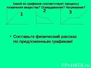 Какой из графиков соответствует процессу плавления вещества? Отвердевания? Нагре