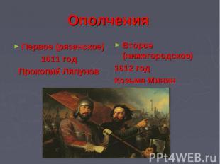 Ополчения Первое (рязанское)1611 годПрокопий Ляпунов Второе (нижегородское)1612