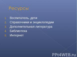 Ресурсы Воспитатель, детиСправочники и энциклопедииДополнительная литератураБибл