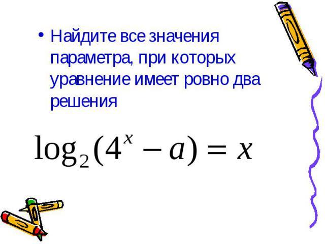 Найдите все значения параметра, при которых уравнение имеет ровно два решения
