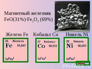 Магнитный железняк FeO(31%)·Fe2O3 (69%) Железо Fe Кобальт Co Никель Ni