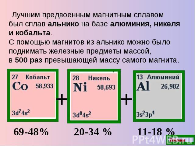 Лучшим предвоенным магнитным сплавом былсплав альнико на базе алюминия, никеля и кобальта.С помощью магнитов из альнико можно было поднимать железные предметы массой,в 500 раз превышающей массу самого магнита. 69-48% 20-34% 11-18%